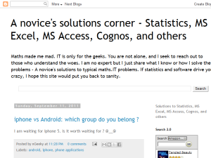 A novice's solutions corner - Statistics, MS Excel, MS Access, Cognos, and others Web Domain Authority Directory