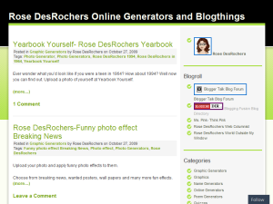 Rose DesRochers Online Generators and Blogthings Web Domain Authority Directory